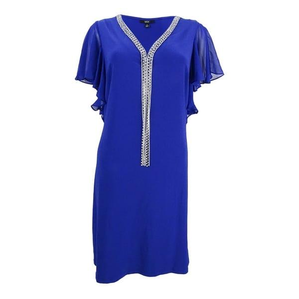 6a119344 Shop MSK Women's Embellished Flutter-Sleeve Dress - Moroccan Blue ...