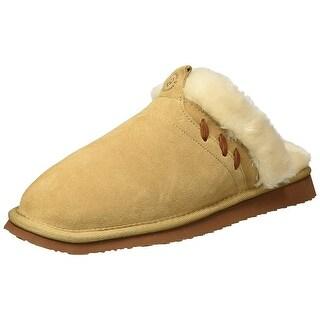 Dearfoams Women's Suede Closed Toe Scuff Slipper - Indoor/Outdoor Padded Slip...