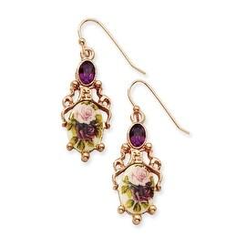 Rosetone Dark Purple Crystal/Floral Decal Drop Earrings