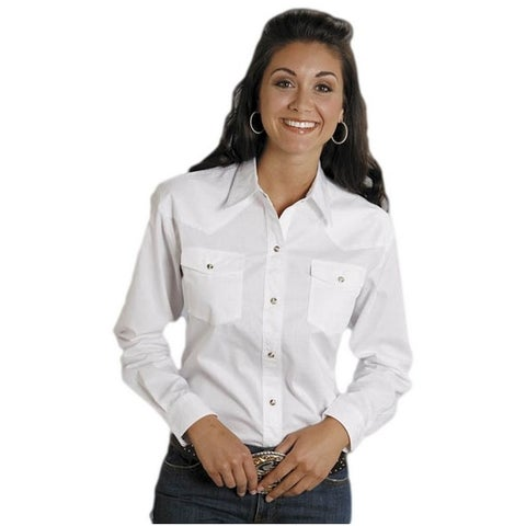 Roper Western Shirt Womens L/S Snap Solid White