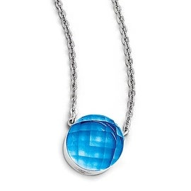 Chisel Stainless Steel Polished Blue Glass with 1 inch Extension Necklace (1 mm) - 18 in