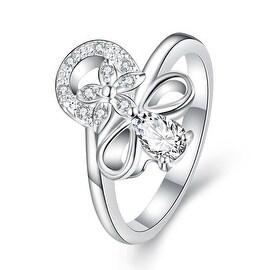 Petite Crystal Stone Swirl Floral Emblem Ring