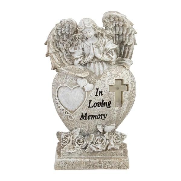 Weeping Angel Solar Lighted Memorial Garden Statue Loved One Sentimental Verse