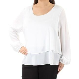 ING $49 Womens New 1107 White Long Sleeve Jewel Neck Casual Top 1X Plus B+B