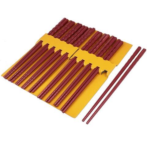 """Unique Bargains 10 Pairs Kitchen Dishware Burgundy Plastic Chopsticks 9.7"""" Long"""