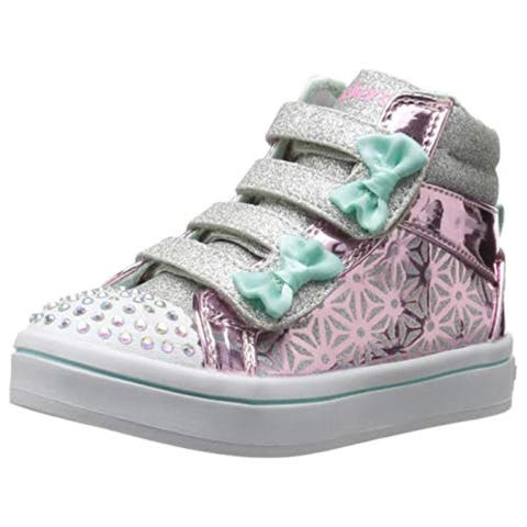 Skechers Kids Girls' TWI-Lites-LIL'GLITTER-UPS Sneaker, Pink/Silver, 7 Medium US Toddler