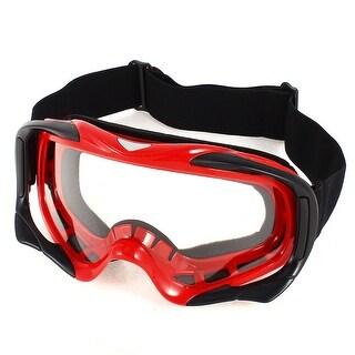 Woman Man Black Red Frame Elastic Band Clear Lens Ski Goggles Glasses