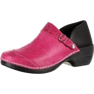 4EurSole Work Shoe Women Western Embellished Magenta RKYH035