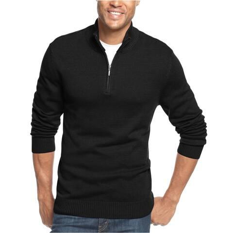 John Ashford Mens Ribbed Quarter-Zip Pullover Sweater