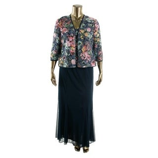 Alex Evenings Womens Sequined Floral Lace Dress With Cardigan