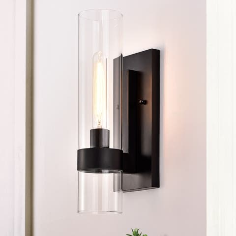 Cylindrical Clear Glass Wall Sconce
