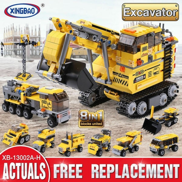 "XINGBAO 13002 Excavator 8 in 1 Building Block with Original Box - 7'6"" x 9'6"". Opens flyout."