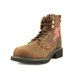 Justin Boots Aged Bark Women Steel Toe Leather Brown Work Boot