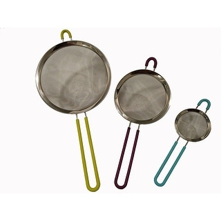 Diamond Kitchenware Fine Stainless Steel Food Strainer Set of 3 Colors May Vary - Assorted Colors