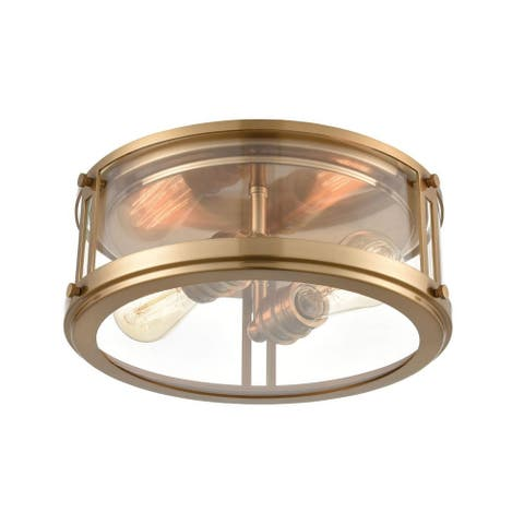 Two Light Flush Mount Satin Brass Finish with Clear Glass