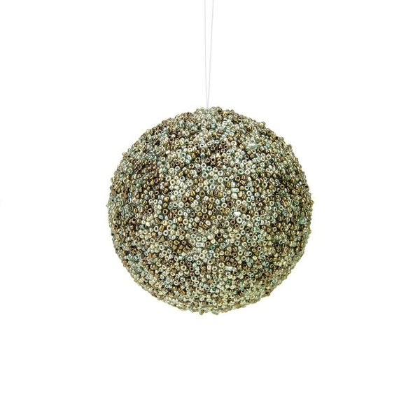 "3.5"" Enchanted Forest Green and Brown Glittered and Beaded Christmas Ball Ornament"