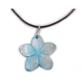 """Charming Shark Boys Dyed Shell Flower Necklace 18"""" Blue"""