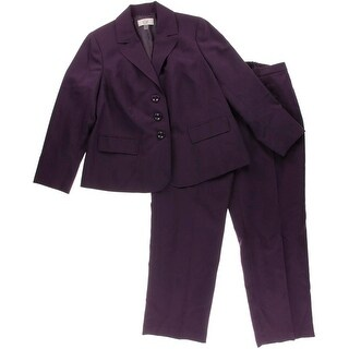 Le Suit Womens Plus Quebec Notch Collar 2PC Pant Suit