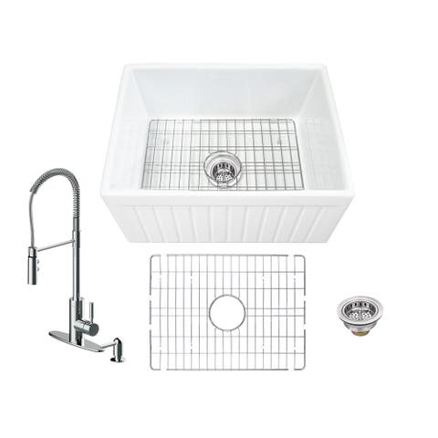 Soleil All-In-One Apron Front Fluted/Plain Reversible Fireclay Single Bowl Kitchen Sink with Pull Down Faucet