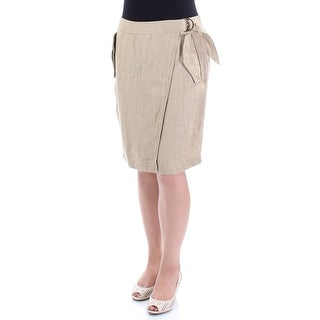 RALPH LAUREN $110 Womens New 1081 Brown Above The Knee Wrap Skirt 12 B+B