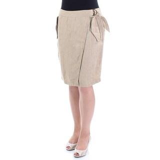 RALPH LAUREN $110 Womens New 1397 Brown Above The Knee Wrap Skirt 8 B+B