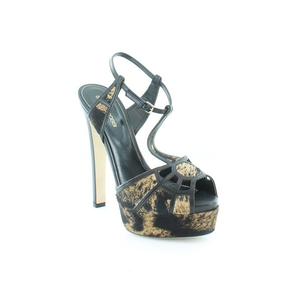 Sergio Rossi Puzzle Calf Hair T-Strap Women's Sandals & Flip Flops Mud+Nero - 7.5