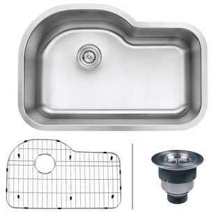 "Ruvati RVM4700  Parmi 31-1/2"" Undermount Single Basin 16 Gauge Stainless Steel Kitchen Sink with Basin Rack and Basket Strainer"