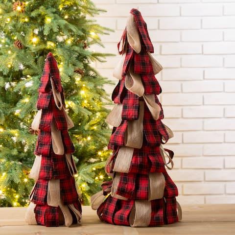 Glitzhome Plaid Fabric Table Tree