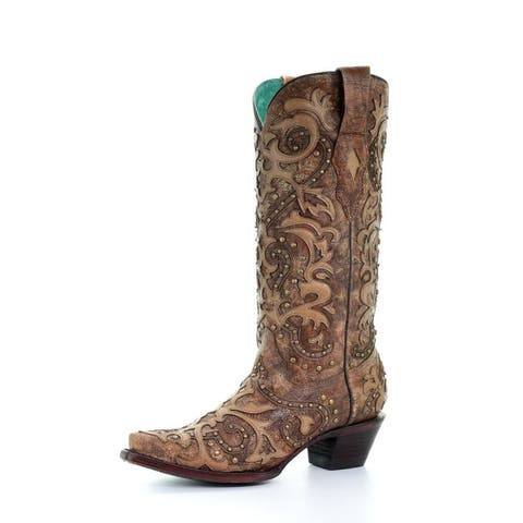 """Corral Western Boots Womens Overlay Studs Leather 13"""" Cognac"""