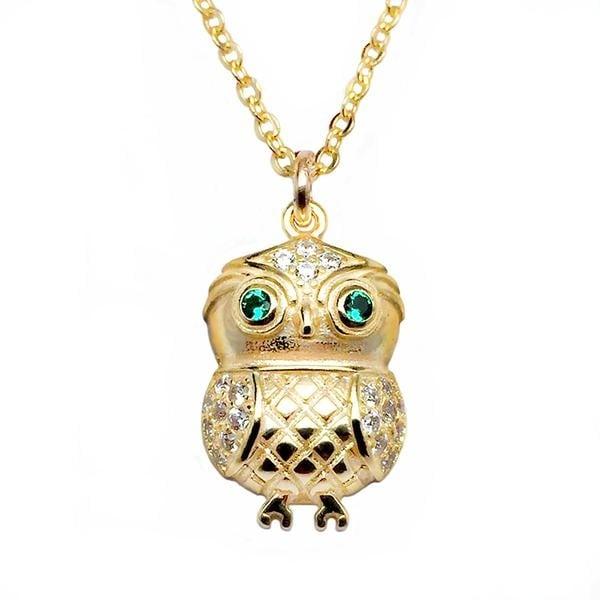 """Julieta Jewelry CZ Owl Gold Charm 16"""" Necklace"""