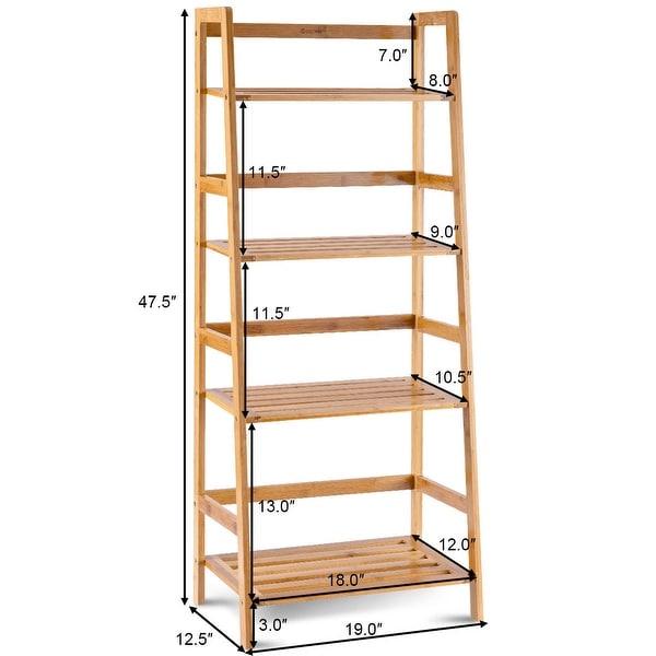 Costway Multifunctional 4 Shelf Bamboo Bookcase Ladder Plant Flower - 19''x12.5''x47.5''