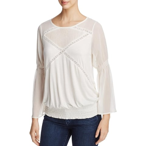 Avec Womens Casual Top Mixed Media Bell Sleeves