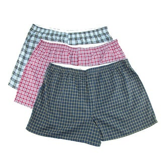 Fruit of the Loom Men's Big Size Plaid Woven Boxer Short Underwear (Pack of 3)