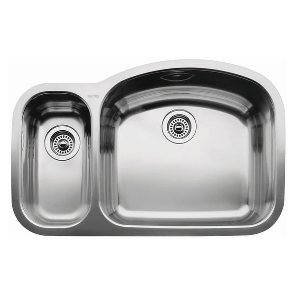 """Blanco 440245 Wave 1-1/2 Reverse Basin Undermount Stainless Steel Kitchen Sink with 6"""" and 10"""" Bowl Depths 32 1/8"""" x 20 7/8"""""""