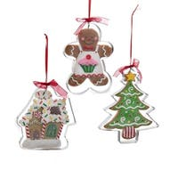 """Club Pack of 12 Gingerbread Kisses Man, Christmas Tree and House Cookie Cutter Christmas Ornaments 4.5"""" - brown"""