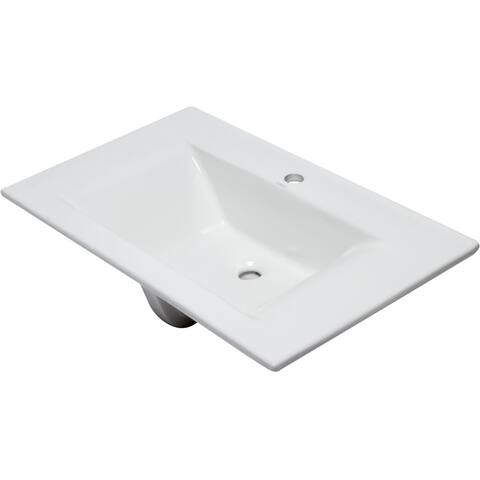 "Eago BB127 31-1/2"" Drop in Bathroom Sink - White"