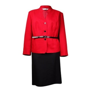 Tahari Women's Norway Nuance Belted Herringbone Skirt Suit - Red/black