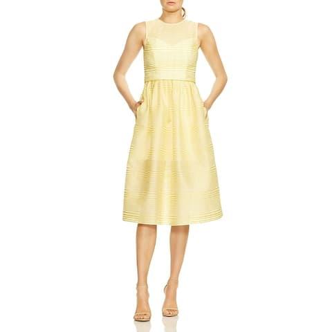 Halston Heritage Womens Cocktail Dress Striped Illusion - Yellow/White