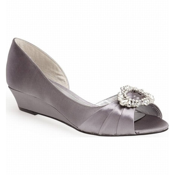 Nina NEW Silver Women's Shoes Size 5M Rivka Satin Open Toe Wedge