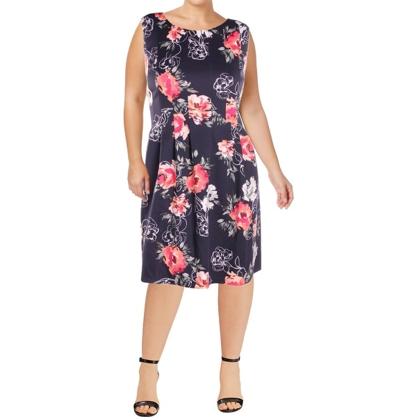 2cdef594e6 Jessica Howard Womens Plus Wear to Work Dress Floral Print Sleeveless