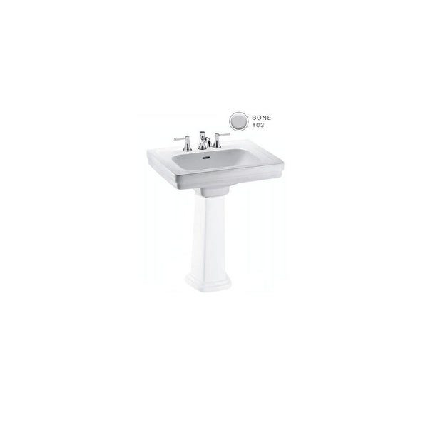"""Toto LT532.4 Promenade 24"""" Pedestal Bathroom Sink with 3 Faucet Holes Drilled and Overflow"""