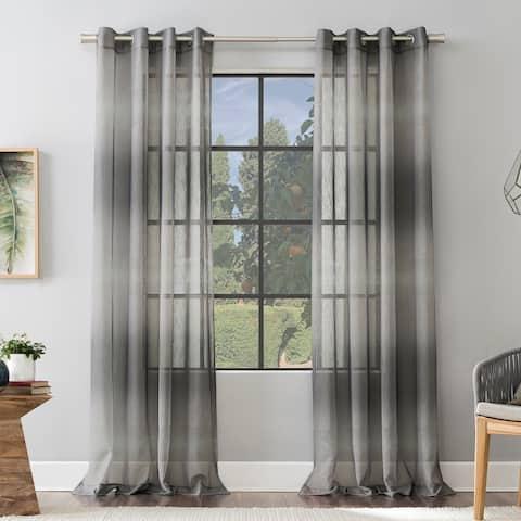 Scott Living Atlantic Ombre Open Weave Sheer Grommet Curtain Panel, Single Panel