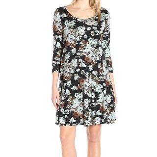 Karen Kane NEW Black Blue Women's Size Large L Shift Floral Dress