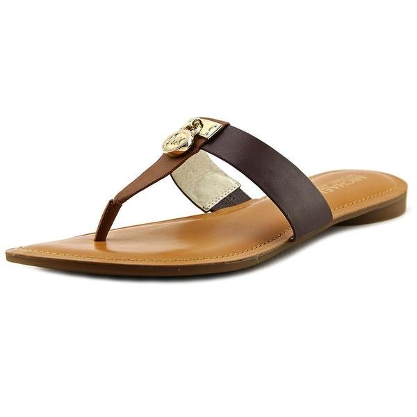 c66ad180d21a Michael Michael Kors Hamilton Flat Women Open Toe Leather Brown Thong Sandal