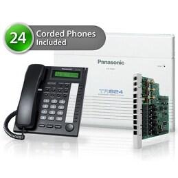 """""""Panasonic KX-TA824-7730-8CO 24 Pack KX-TA824 Phone System + KX-TA82483 Exp. Card + KX-TA82481 Exp Card +KX-T7730 Corded"""