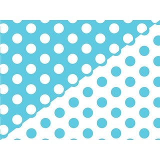 "Pack Of 1, Turquoise Polka Dot 24"" x 85' Roll Reversible Classic Designs Gift Wrap For 40-50 Gifts Made In Usa"