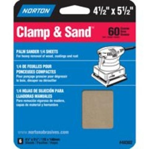 "Norton 07660705445 60-Grit Clamp & Sand Sheet, 4-1/2""x5-1/2"""