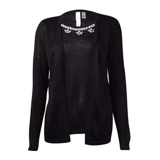 Link to NY Collection Women's Faux 2PC Beaded Metallic Sweater Similar Items in Suits & Suit Separates