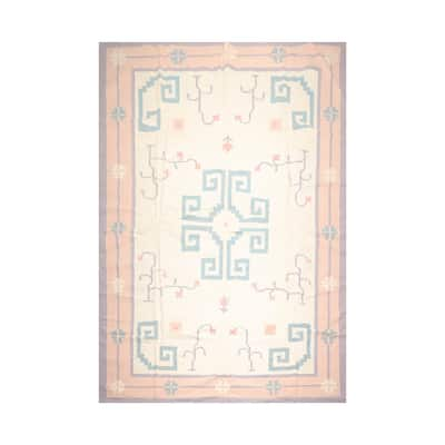 Hand Knotted Medallion Ivory Wool Modern Oriental Area Rug (10x14) - 10' x 13' 11''
