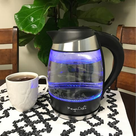 MegaChef 1.8 Litre Glass and Stainless Steel Electric Tea Kettle